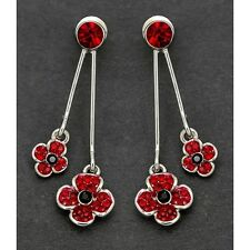 Equilibrium Silver Plated Double Poppy Crystal Earrings Gift 69147 Jewellery