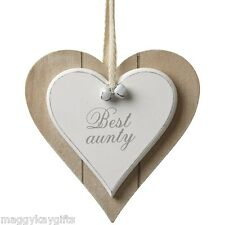 Best Aunty Auntie - Shabby Chic Wooden Hanging Heart Plaque Sign White Gift
