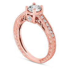 14K Rose Gold Diamond Engagement Ring 0.55 Carat Vintage Antique Style Engraved