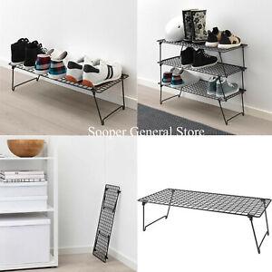 Metal Shoe Rack Stand 2 3 tier Foldable Detachable Steel Black Organiser Shelves