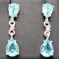 Large 2Ct Pear Blue Aquamarine Drop Earrings Women Wedding Jewelry 14K Gold