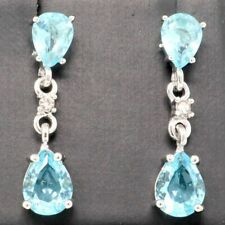 Large 2Ct Pear Blue Aquamarine Drop Earrings Women Wedding Jewelry 14K Gold