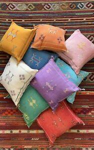 "Cactus Silk Pillow Cover 18""x18"", Moroccan Handmade Sabra Cushion Cover, Hand Wo"