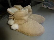 Cozy Bootie 9-10/Large Camel Memory Foam Slipper Slippers Shoes Faux Fur Lining