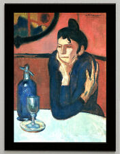 "Pablo Picasso ""The absinthe drinker"" framed canvas print poster art reproduction"