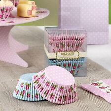 100 CUPCAKE MUFFIN CASES VINTAGE ROSE Pink Blue Party Wedding Engagement Tea Bun
