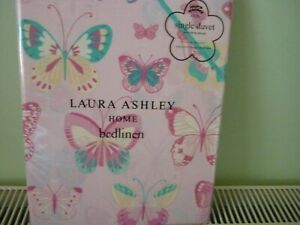 LAURA ASHLEY KIDS SINGLE DUVET SET PINK BUTTERFLY DESIGN WITH PILLOW CASE