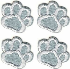 Lot of 4 Silver Gray Grey White Dog Animal Paw Print Embroidery Patch