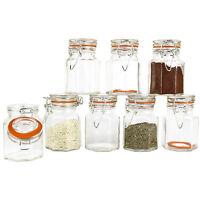Set Of 8 Glass Clip Top Airtight Clip Top Vintage Storage Spice Herb Jam Jars