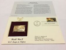 World War II U.S. Troops in Saipan Stamp, June 6, 1994 FDC and 22kt gold replica