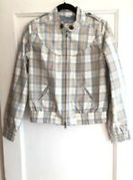 Calvin Klein Women's Tan Blue White Plaid Print Bomber Jacket Size Medium