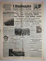 N1076 La Une Du Journal L'humanité 26 août 1936 provocation hitlérienne
