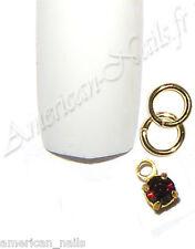 Piercing anneau bijou d'Ongle Strass SWAROVSKI Burgundy Bordeaux 2,5mm Nail Art