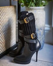 Gucci Lifford Black And Wool Leather Boots Size 34.5 UK 2