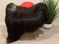 Black White Icelandic Black Sheepskin Rug * Fur Throw Black Long Soft Wool