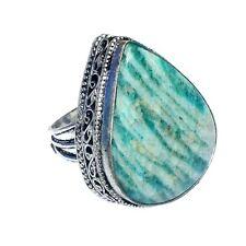 GREEN AMOZONITE   Gemstones Handmade SILVER PLATED Ring JH