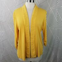 Coldwater Creek size Large Cardigan Sweater Cotton Stretch Open Front Yellow