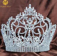 """Large 7"""" Full Round Crown Pageant Tiara Crystals Bridal Headband Prom Art Deco"""