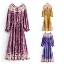 Boho Maxi Dress Long Sleeve Floral Ethnic Gypsy Hippie Bohemian Modest Muslim