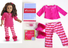 American Girl Doll FAIR ISLE PAJAMAS Scotland Snowflake PJS + Charm Slippers BOX