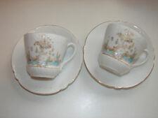 2 antike Kaffeetassen mit Untertassen, Schwan auf See, original Jugendstil