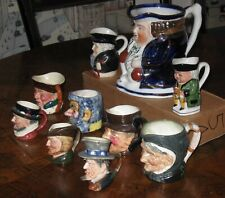 Vintage Toby Jugs (9Pc) Small,Med,Large Royal Doulton,Royal Minton,& Others