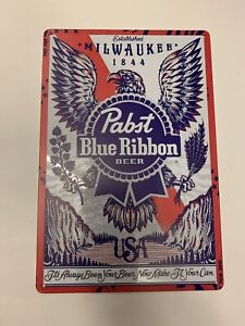 Pabst Blue Ribbon Tin Metal Sign Eagle Since 1844 USA Can Bottle Beer Man Cave