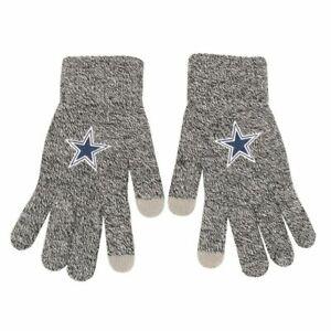 Dallas Cowboys Gray Knit Gloves Sports Logo Winter NEW Texting Tips