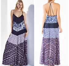 BCBG Dress Juna Blue Print Pleated Long Halter  $448 Size M RWY69H29