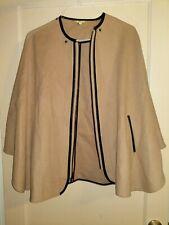 Vintage Gianni Bini Beige Tan Virgin Wool Blend Batwing Cape Poncho Coat Women S