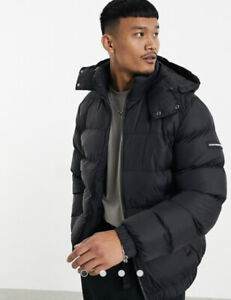 GOOD FOR NOTHING PUFFER JACKET WITH HOOD BLACK BNWT LARGE