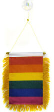 "Rainbow Gay Pride Mini Flag 4""x6"" Window Banner w/ suction cup"