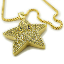 18K Gold Plated Iced Out MARIO STAR Stainless Steel Box Chain Pendant Necklace