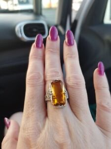 Natural Citrine Gemstone Ring 925 Sterling Silver Womens Big Jewelry Engagement