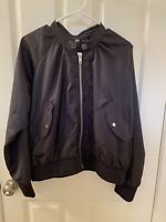 Free People Women's Black Lightweight Midnight Bomber Jacket Size Large