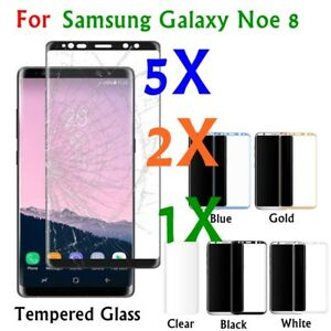 1/2/5pc Full Coverage Tempered Glass Screen Protector For Samsung Note 8 Lot