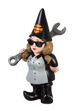 Harley Davidson Female Mechanic Biker Themed Polystone Garden Gnome Ornament