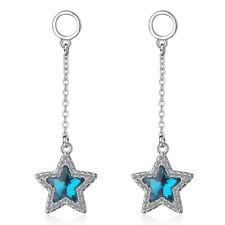 Ladies Fine 925 Sterling Silver Blue Austrian Crystal Star Dangle Stud Earrings