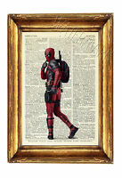 Deadpool Print Poster Marvel Ryan Reynolds Wall Art Dictionary Art Vintage 2016