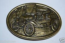 WOW Vintage Old Fashioned Car Brass Tone Oval Belt Buckle Avon RARE
