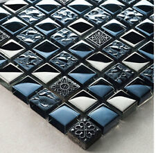 NEW BLACK ANCIENT PATTERN & SILVER CHROME SQUARES MOSAIC WALL TILES 8MM RRP £16