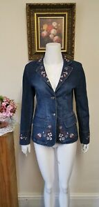 EMOZIONI WOMENS EMBROIDERED DENIM JACKET FLORAL  POCKETS BUTTONS SIZE 8