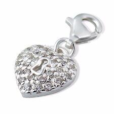 Cerradura de corazón silvadore cristales de la CZ de Plata Esterlina 925 clip en pulsera con dijes 45