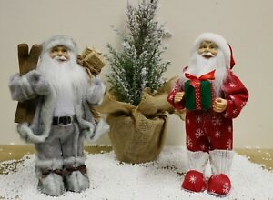 30cm Santa Claus Decoration Red Grey Statue Father Christmas Standing Figure