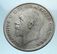 1929 Great Britain United Kingdom UK King GEORGE V Silver Half Crown Coin i78368