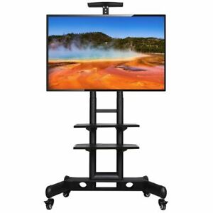 Rolling TV Cart Stand with Stroage Shelves & Heavy Duty Base Stand for 32 to 70