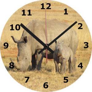 WALL CLOCK RHINO 25cm Mother Calf Wildlife Nature Animal Home Decor diy 964