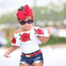 Toddler Kids Baby Girls Off Shoulder 3D Rose Flower T Shirt Tops Outfits Clothes
