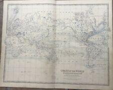 1861 Original A.K.Johnston Map - Chart Of The World - Ocean Currents & Distances