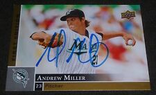 ANDREW MILLER SIGNED 2009 UPPER DECK FIRST EDITION CARD #115 FLORIDA MARLINS